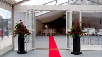 Corporate marquee hire - inside with red carpet