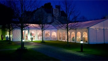 Night-time view of beautiful marquee in Essex