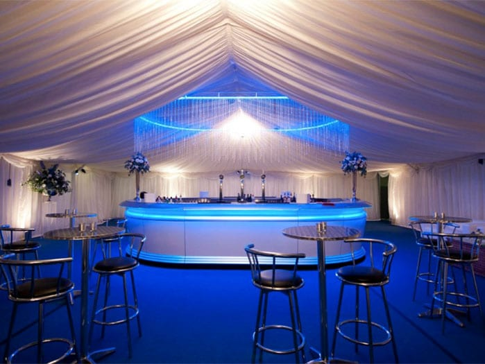 Inside view of marquee in Essex with stage