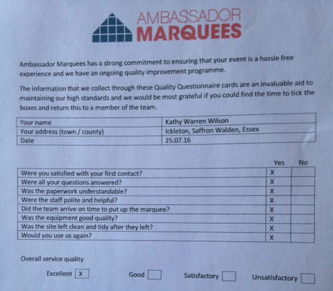marquee hire feedback form from essex
