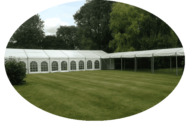 Marquee with walkway in Arkesden, Essex