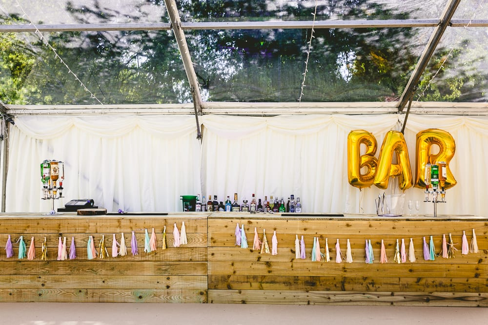 Bar in clear roof marquee