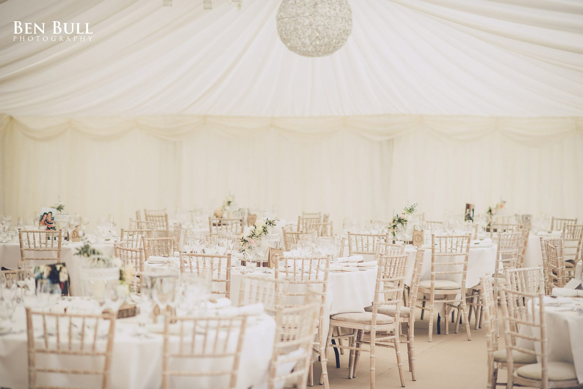 Rustic tables and chairs for Summer Wedding